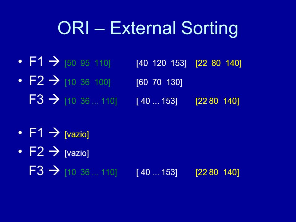 ORI – External Sorting F1  [50 95 110] [40 120 153] [22 80 140]